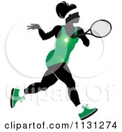 Clipart Of A Silhouetted Tennis Woman In A Green Outfit Royalty Free Vector Illustration by Lal Perera