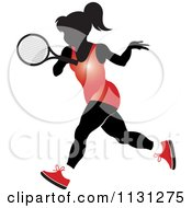 Clipart Of A Silhouetted Tennis Woman In A Red Outfit Royalty Free Vector Illustration by Lal Perera