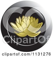 Clipart Of A Gold Lotus Icon Royalty Free Vector Illustration