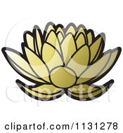 Clipart Of A Golden Lotus Flower Royalty Free Vector Illustration