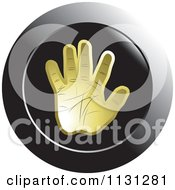 Clipart Of A Gold Hand Icon Royalty Free Vector Illustration