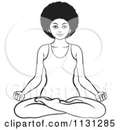Clipart Of A Black And White African American Woman Meditating Royalty Free Vector Illustration