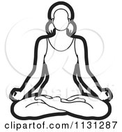 Clipart Of An Outlined Yoga Woman Meditating Royalty Free Vector Illustration by Lal Perera