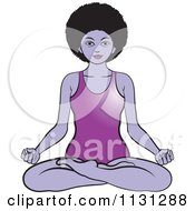 Clipart Of A Black Woman Meditating In A Body Suit Royalty Free Vector Illustration