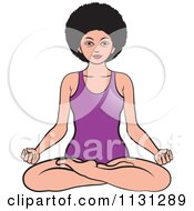 Clipart Of An African American Woman Meditating 1 Royalty Free Vector Illustration by Lal Perera