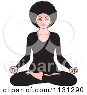 Clipart Of An African American Woman Meditating 2 Royalty Free Vector Illustration by Lal Perera