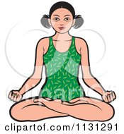 Clipart Of A Black And White Asian Woman Meditating Royalty Free Vector Illustration
