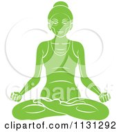 Clipart Of A Green Yoga Woman Meditating Royalty Free Vector Illustration