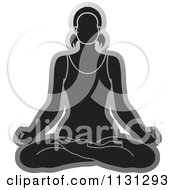 Clipart Of A Grayscale Yoga Woman Meditating Royalty Free Vector Illustration