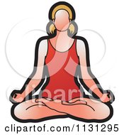 Clipart Of A Yoga Woman Meditating Royalty Free Vector Illustration