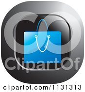 Clipart Of A Blue Shopping Bag Icon Royalty Free Vector Illustration