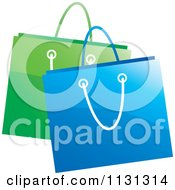 Clipart Of Green And Blue Shopping Bags Royalty Free Vector Illustration