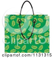 Clipart Of A Green Floral Shopping Bag Royalty Free Vector Illustration