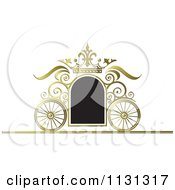 Clipart Of A Black And Gold Ornate Wedding Carriage Frame Royalty Free Vector Illustration
