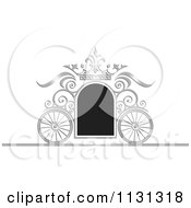 Clipart Of A Black And Silver Ornate Wedding Carriage Frame Royalty Free Vector Illustration