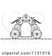 Clipart Of A Black And White Ornate Wedding Carriage Frame Royalty Free Vector Illustration