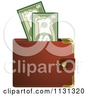 Clipart Of A Brown Wallet And Cash Royalty Free Vector Illustration by Lal Perera