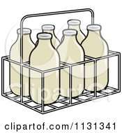Clipart Of A Case Of Milk Bottles Royalty Free Vector Illustration