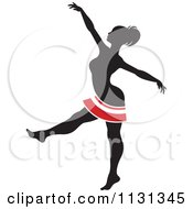 Clipart Of A Silhouetted Dancer With Red And White Stripes 1 Royalty Free Vector Illustration