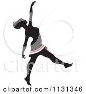 Clipart Of A Silhouetted Dancer With Red And White Stripes 2 Royalty Free Vector Illustration