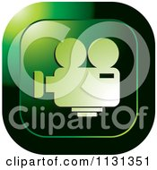 Clipart Of A Green Film Camera Icon Royalty Free Vector Illustration