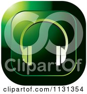 Clipart Of A Green Headphones Icon Royalty Free Vector Illustration by Lal Perera