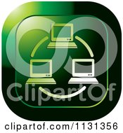 Clipart Of A Green Computer Network Icon Royalty Free Vector Illustration