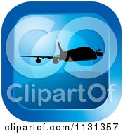 Clipart Of A Blue Airplane Icon Royalty Free Vector Illustration