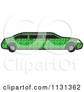 Clipart Of A Green Floral Limo Car Royalty Free Vector Illustration by Lal Perera