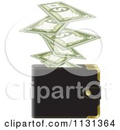 Clipart Of Cash Money And A Wallet Royalty Free Vector Illustration by Lal Perera