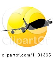 Clipart Of A Silhouetted Airplane And Sun Royalty Free Vector Illustration