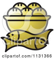 Clipart Of A Gold Bowl Of Bread And Fish Royalty Free Vector Illustration