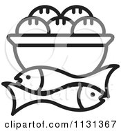 Clipart Of An Outlined Bowl Of Bread And Fish Royalty Free Vector Illustration