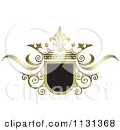 Clipart Of A Black And Gold Ornate Wedding Crown And Frame Royalty Free Vector Illustration