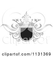 Clipart Of A Black And Silver Ornate Wedding Crown And Frame Royalty Free Vector Illustration