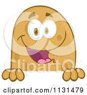 Cartoon Of A Happy Potato Mascot Over A Sign Royalty Free Vector Clipart by Hit Toon