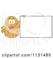 Cartoon Of A Happy Potato Mascot By A Sign Royalty Free Vector Clipart by Hit Toon