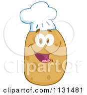 Cartoon Of A Happy Chef Potato Mascot Royalty Free Vector Clipart by Hit Toon