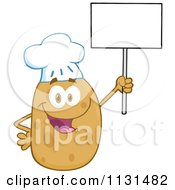 Cartoon Of A Happy Chef Potato Mascot Holding A Sign Royalty Free Vector Clipart by Hit Toon