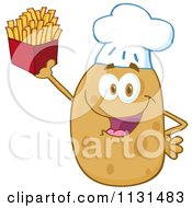 Cartoon Of A Happy Chef Potato Mascot Holding Fries Royalty Free Vector Clipart by Hit Toon
