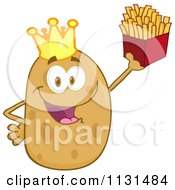 Cartoon Of A Happy King Potato Mascot Holding Fries Royalty Free Vector Clipart by Hit Toon