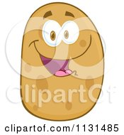 Cartoon Of A Happy Potato Mascot Royalty Free Vector Clipart by Hit Toon