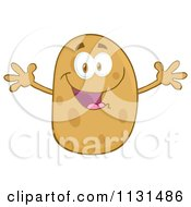 Cartoon Of A Happy Potato Mascot With Open Arms Royalty Free Vector Clipart by Hit Toon