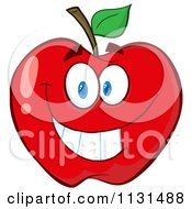 Cartoon Of A Smiling Red Apple Mascot Royalty Free Vector Clipart by Hit Toon