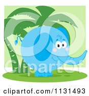 Round Blue Elephant By Palm Trees