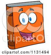 Cartoon Of A Happy Orange Book Mascot Royalty Free Vector Clipart by Hit Toon