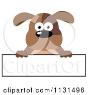 Cartoon Of A Brown Dog Over A Long Banner Sign Royalty Free Vector Clipart