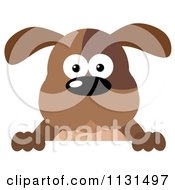 Cartoon Of A Brown Dog Over A Sign Royalty Free Vector Clipart