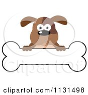 Cartoon Of A Brown Dog Over A Bone Banner Sign Royalty Free Vector Clipart