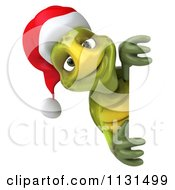 Clipart Of A 3d Christmas Tortoise With A Sign Royalty Free CGI Illustration